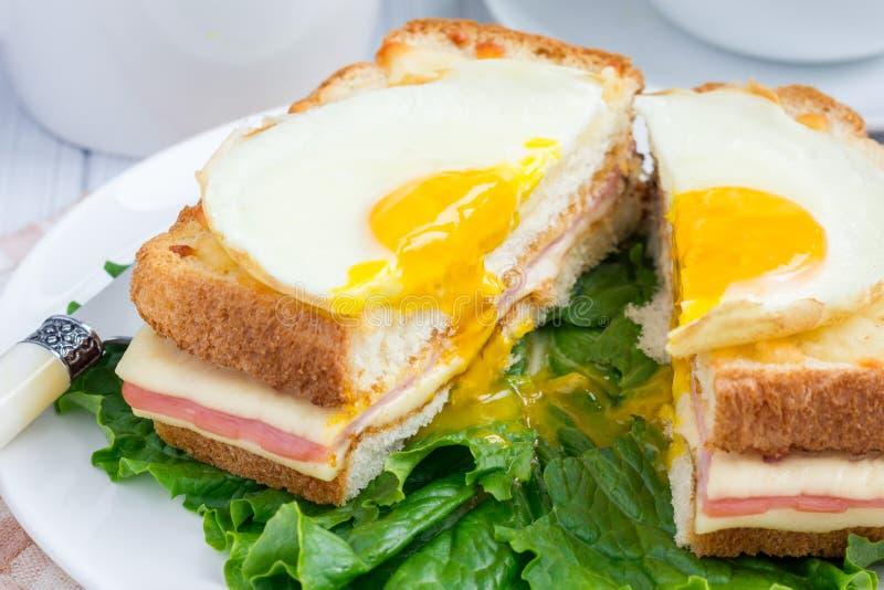 Francuz wznoszący toast kanapki Croque madame, cięcie fotografia stock