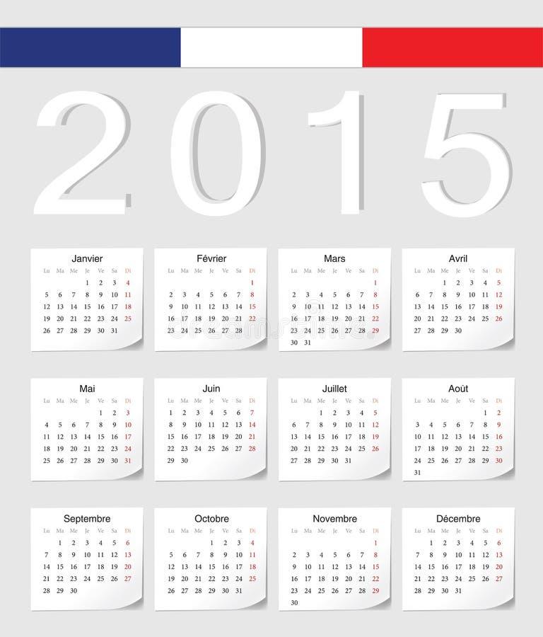 Francuza 2015 kalendarz ilustracja wektor