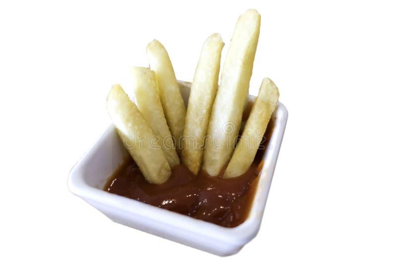 Francuza ketchup w białym pucharze odizolowywającym na białym tle kartoteka z ścinek ścieżką i dłoniaki zdjęcie stock