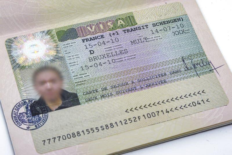 Francuza Schengen wizy zakończenie up fotografia royalty free