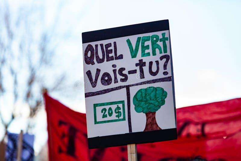 Francuza znak przy środowisko demonstracją fotografia stock