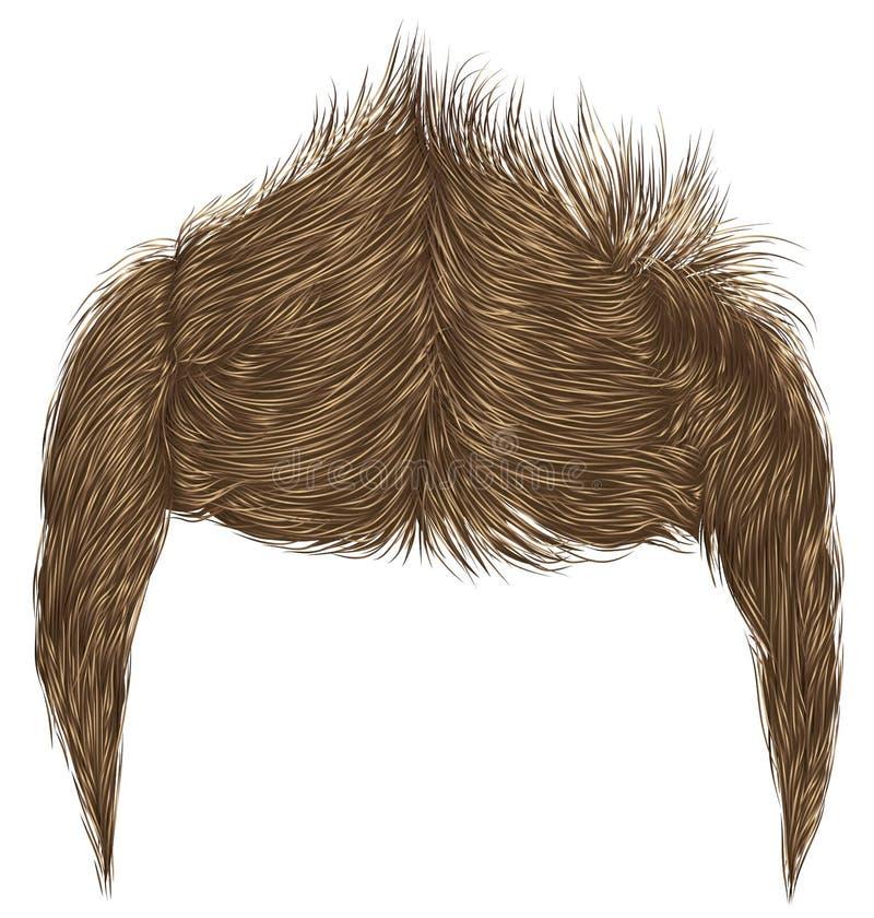 Frange élégante à la mode de poils d'homme beauté dénommer élevé de cheveux 3d réaliste illustration libre de droits