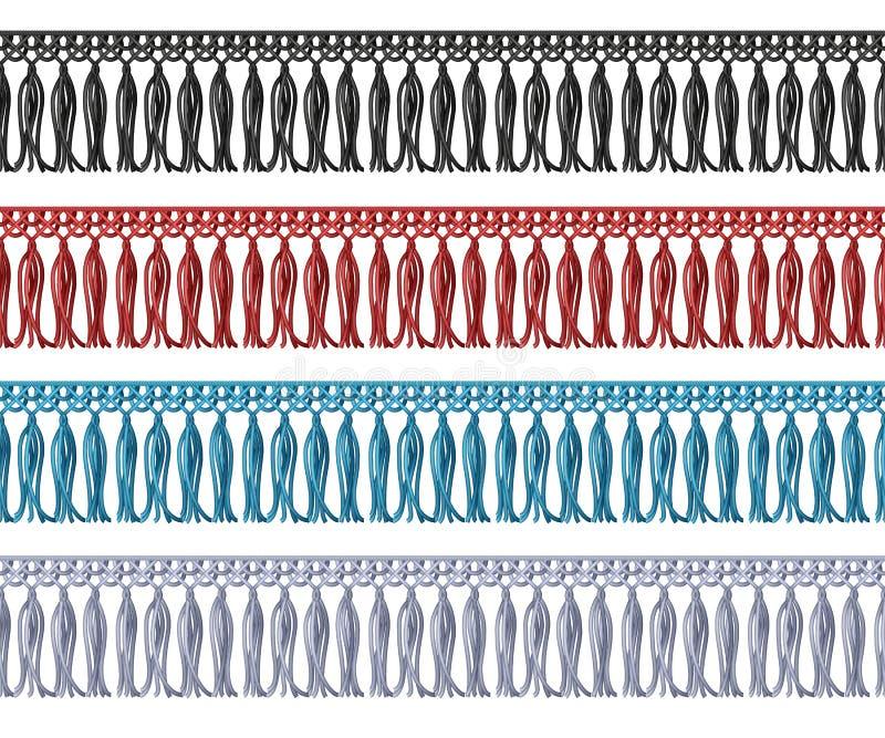 Frange sans couture avec le bord de tissu de gland Éléments de vecteur de vêtement illustration de vecteur
