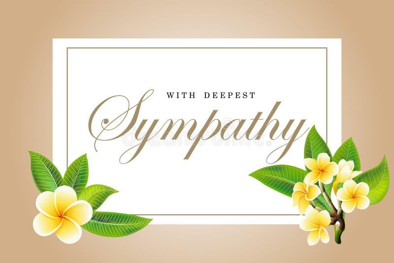 Frangipani de la tarjeta de condolencia de las condolencias o ramo y letras florales del plumeria imagenes de archivo