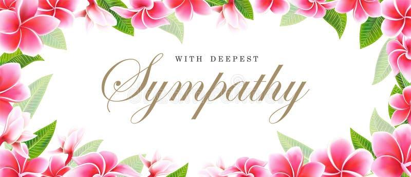 Frangipani de sympathie de carte postale ou bouquet et lettrage roses floraux de plumeria illustration stock