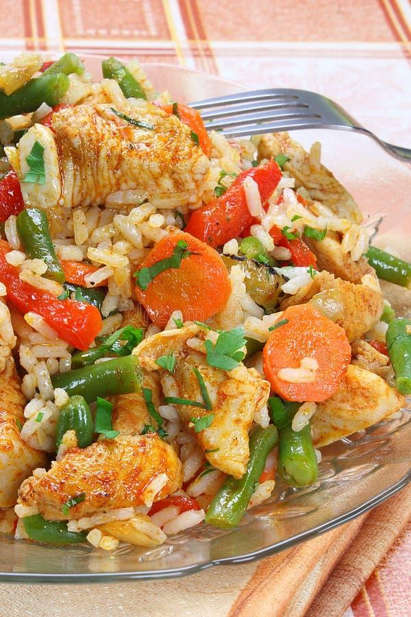Frango frito com arroz foto de stock