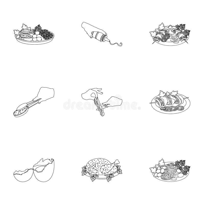 Frango frito, cozinhando a costeleta, cortando vegetais, no espeto e outros elementos do cozimento Alimento e grupo do cozimento ilustração do vetor