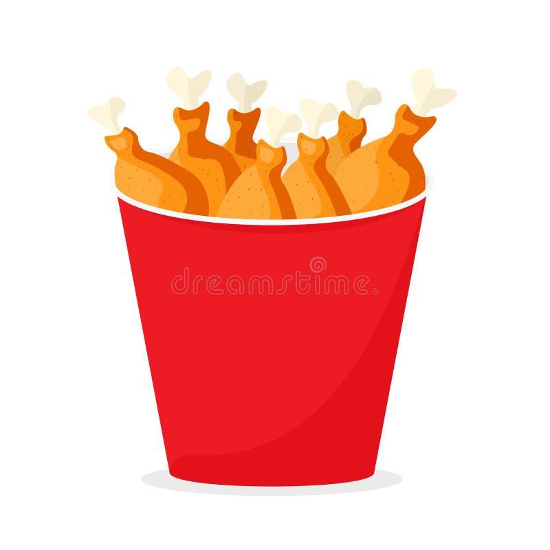 Frango frito na cubeta vermelha ilustração do vetor