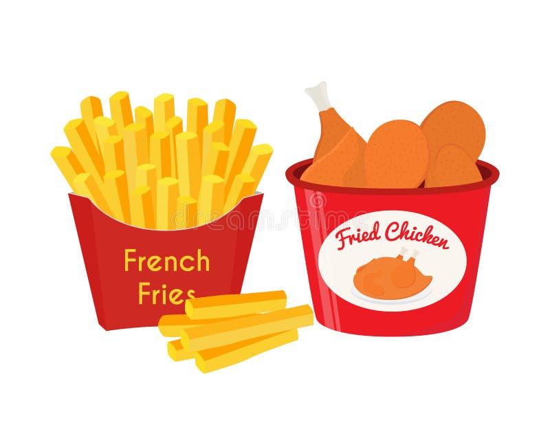 Frango frito, pés, asas, batatas fritas Estilo liso dos desenhos animados Vetor ilustração stock