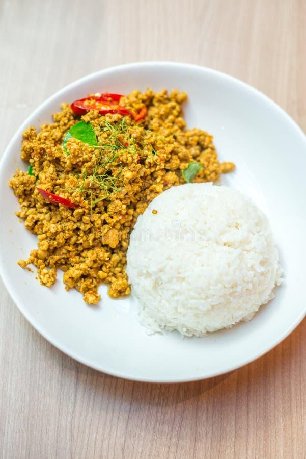 Frango frito tailandês da agitação com arroz imagem de stock