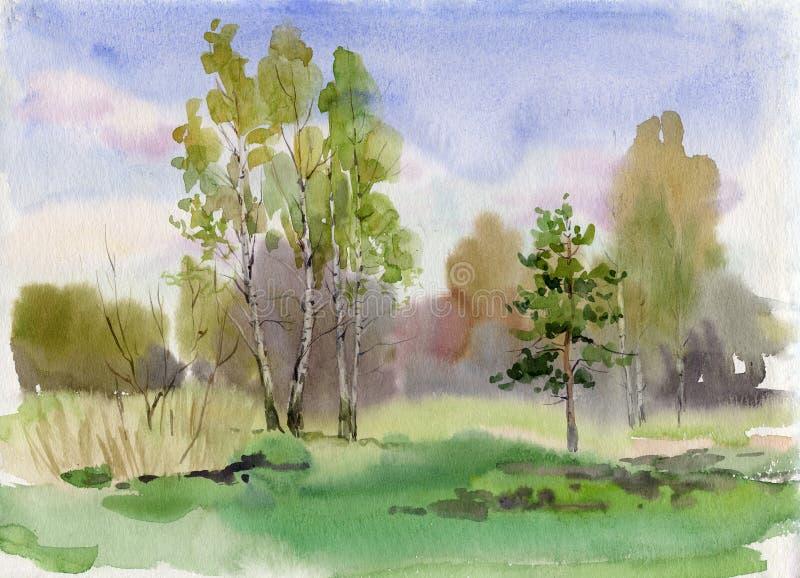 Franja del bosque stock de ilustración