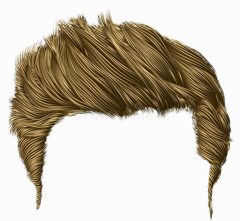 Franja elegante de moda de los pelos del hombre el alto diseñar del pelo 3d realista stock de ilustración