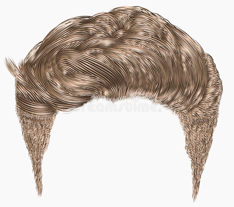 Franja elegante de moda de los pelos del hombre el alto diseñar del pelo de la belleza 3d realista ilustración del vector