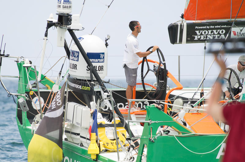 Frank Cammas at the helm of Groupama Sailing Team royalty free stock photography