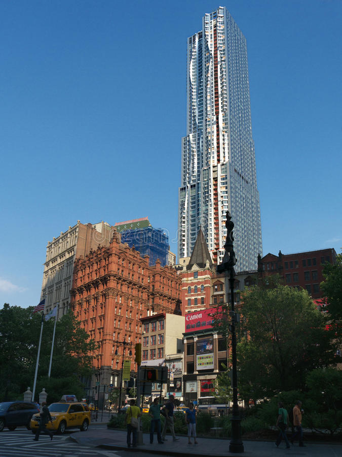 Frank Gehry new tower at 8 Spurce St New York. An object of a New Yorker article, this new building by Frank Gehry in Manhattan 76 stories high, is currently the stock photos