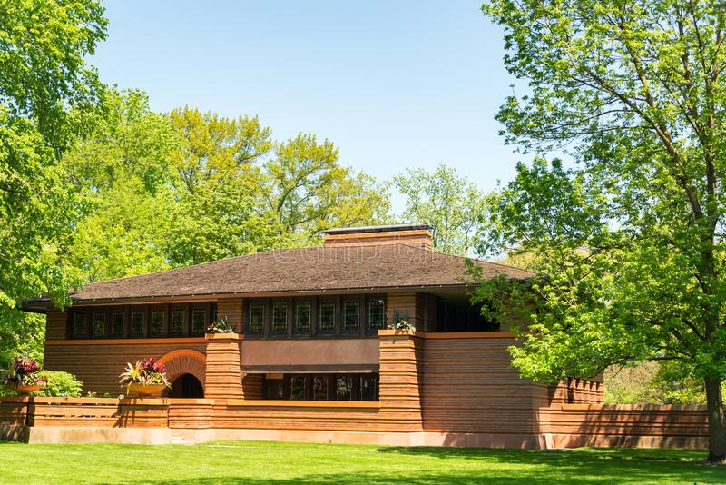 Frank Lloyd Wright House in Eiken Park stock afbeelding
