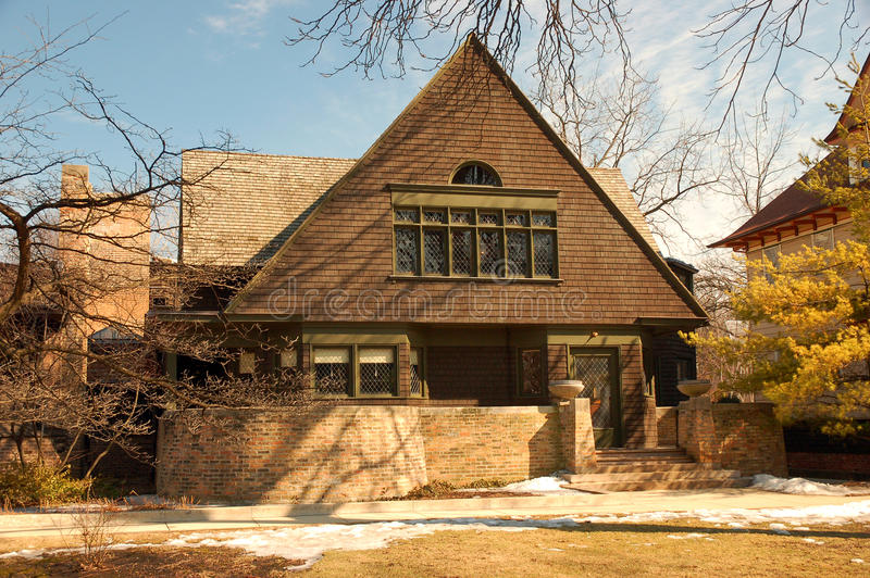 Frank Lloyd Wrights home in Oak Park, Illinois. The Frank Lloyd Wright home is now a msueum, open to the public stock photos