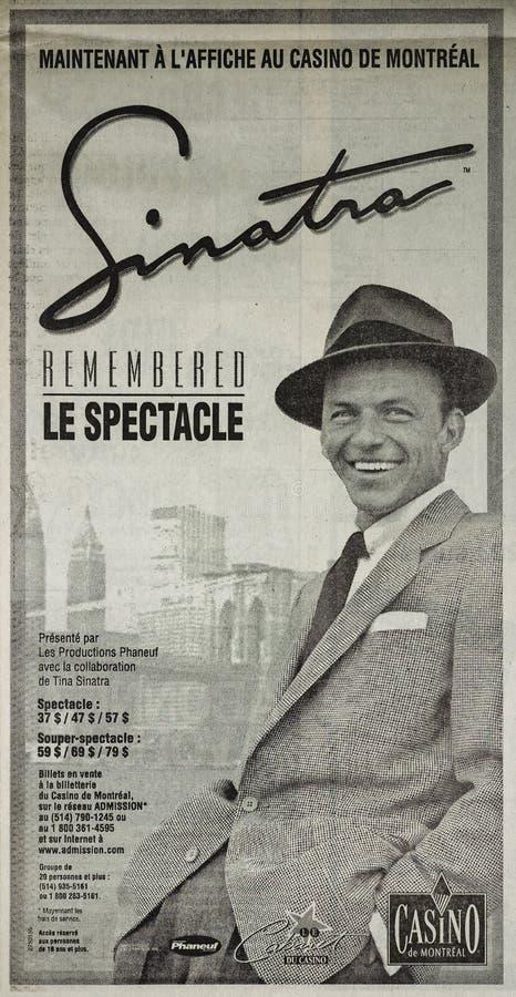 Frank Sinatra-de krant voegt toe stock afbeeldingen