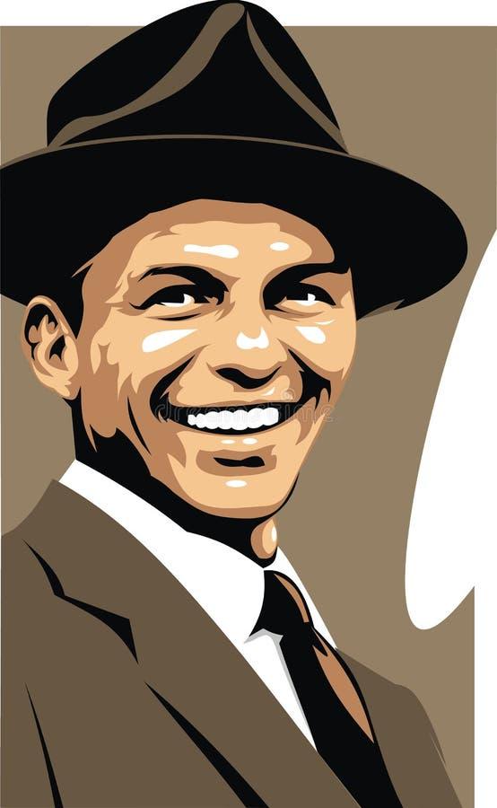 Frank Sinatra - min original- karikatyr stock illustrationer