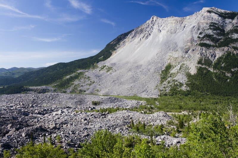 Frank Slide Mountain Landslide Alberta stock afbeelding