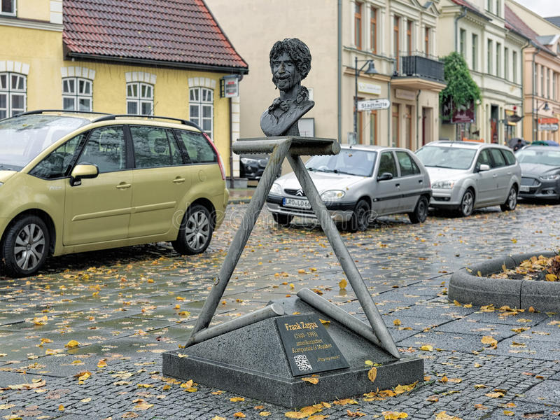 Frank Zappa Monument in Bad Doberan, Germany. The monument by the Czech sculptor Vaclav Cesak was inaugurated in 2002 during the 13th Zappanale festival, which stock images