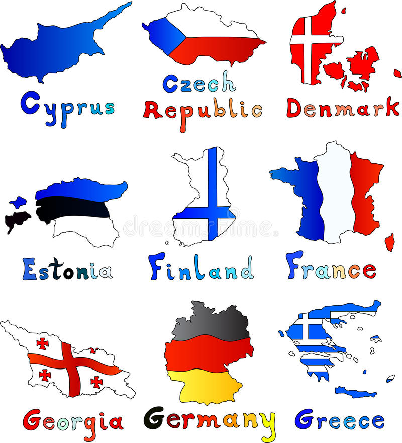 Franken Zypern-czeh Republik-Dänemarks Estland Finnland lizenzfreie abbildung