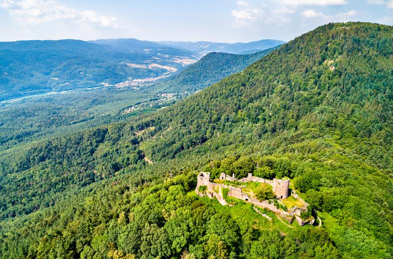 Frankenbourg castle in the Vosges Mountains, France royalty free stock photography