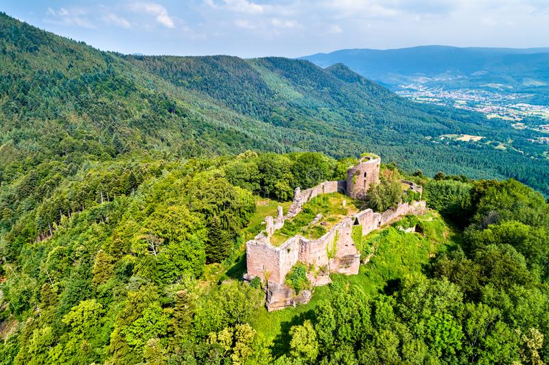 Frankenbourg castle in the Vosges Mountains, France stock images