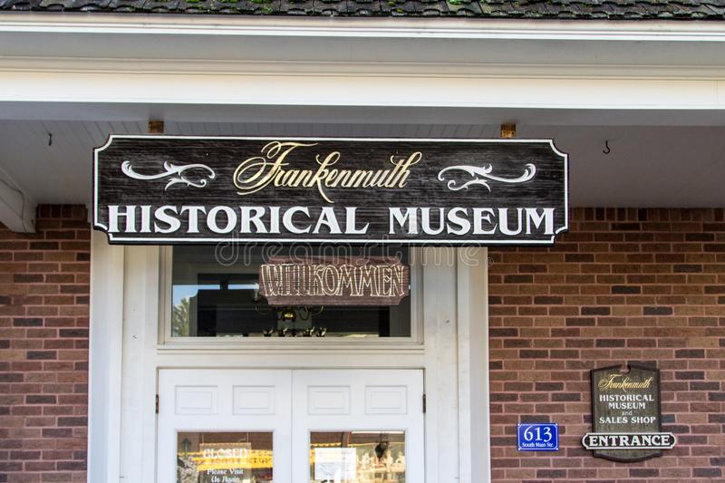 Frankenmuth Historical Museum Entrance. Frankenmuth, Michigan, USA - October 9, 2018: Entrance to the Frankenmuth Historical Museum. The museum features historic stock photo