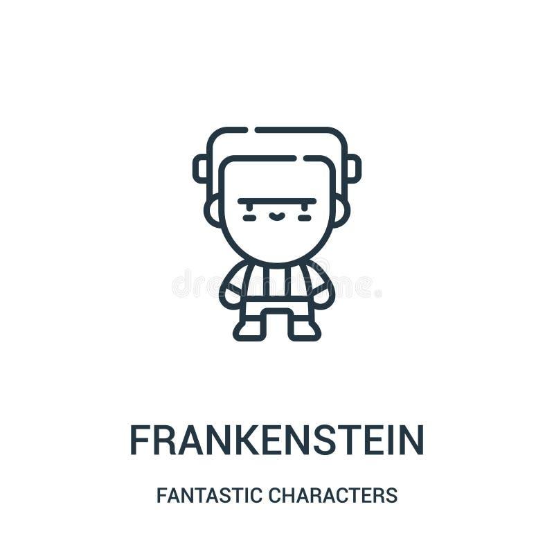 frankenstein从意想不到的字符收藏的象传染媒介 稀薄的线frankenstein概述象传染媒介例证 向量例证