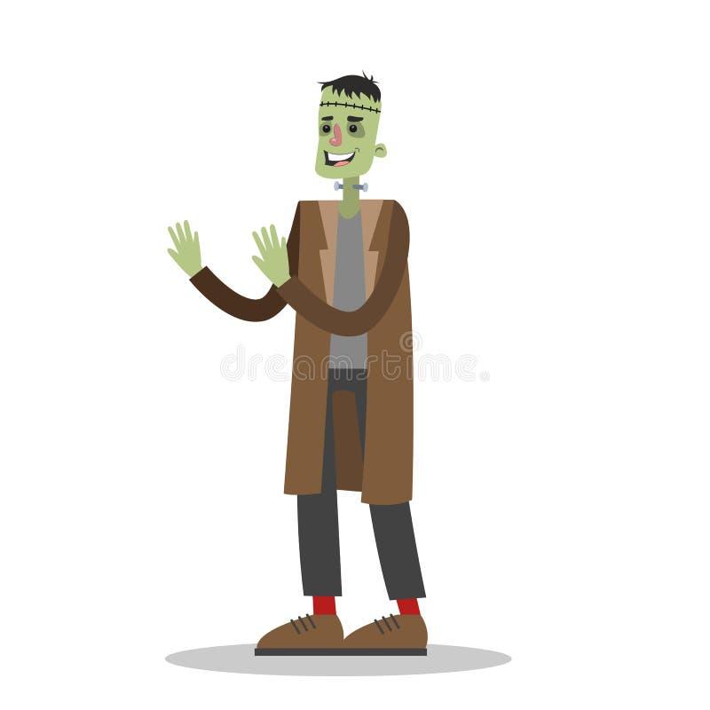 frankenstein服装的英俊的人 向量例证