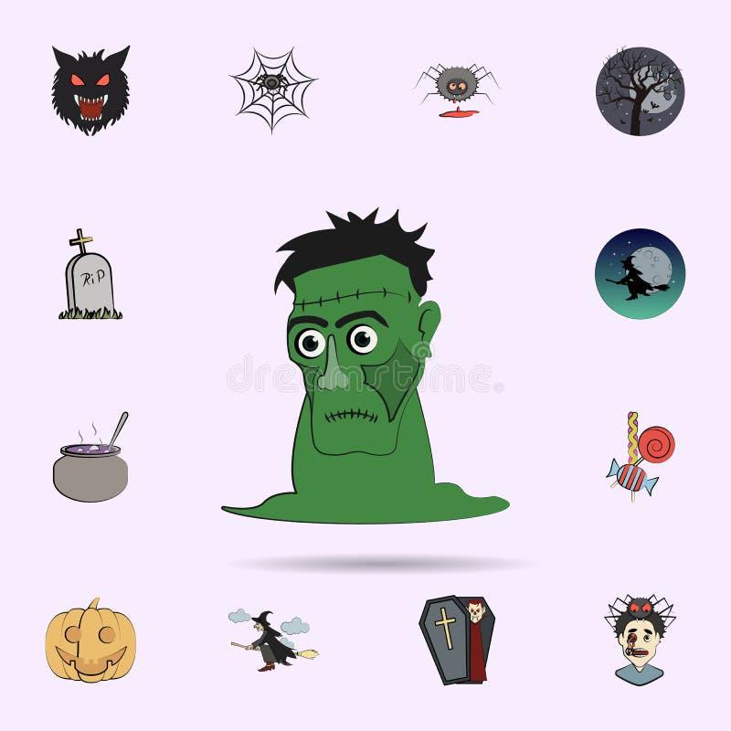 Frankenstein f?rgade symbolen Universell upps?ttning f?r allhelgonaaftonsymboler f?r reng?ringsduk och mobil royaltyfri illustrationer