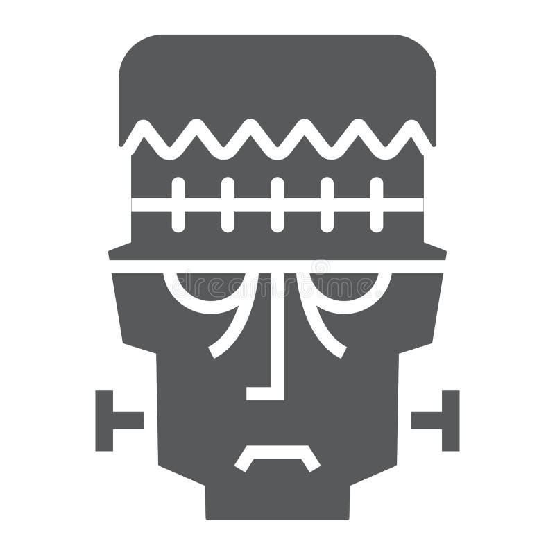 Frankenstein glyph pictogram, Halloween en monster, zombieteken, vectorafbeeldingen, een stevig patroon op een witte achtergrond royalty-vrije illustratie