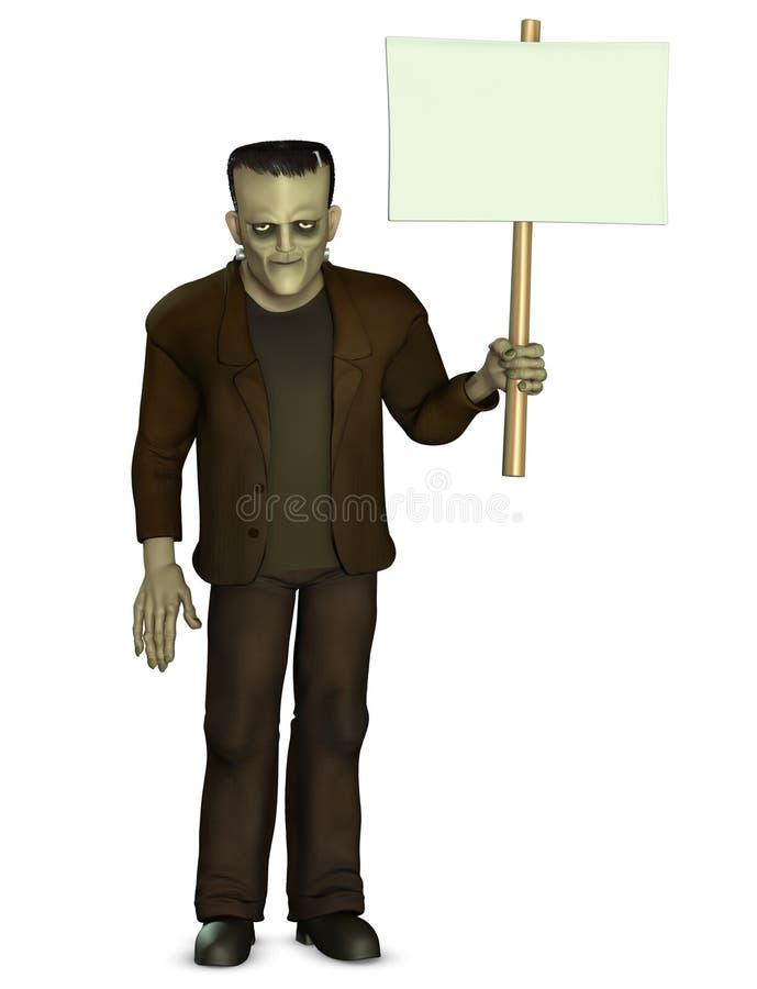 Download Frankenstein Holding Placard Stock Illustration - Illustration of crazy, frankenstein: 26840550
