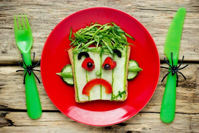 Frankenstein kanapka dla Halloween zdjęcie royalty free
