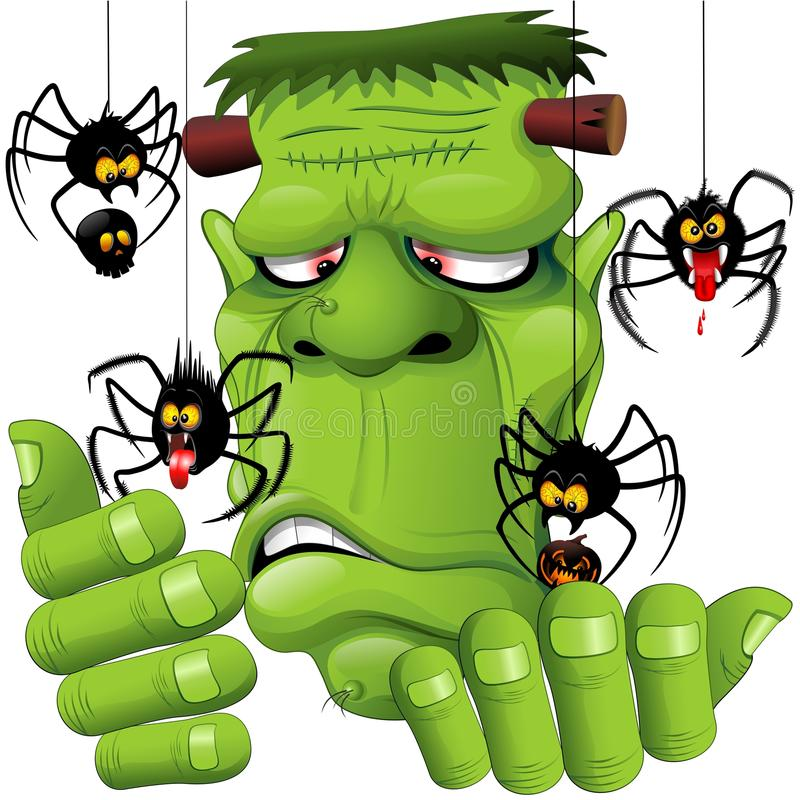 Frankenstein-Spinnen-Haustier-Karikatur vektor abbildung