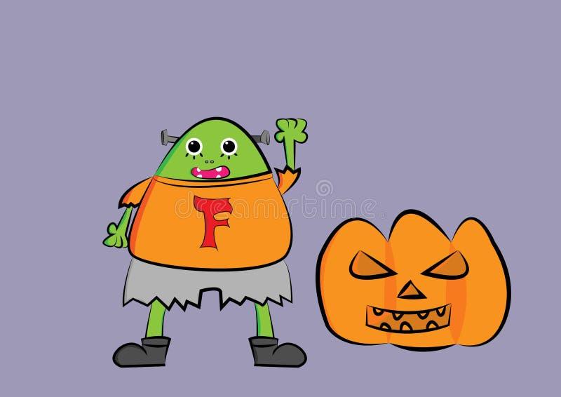 Frankenstein tecknad filmillustration med pumpa stock illustrationer