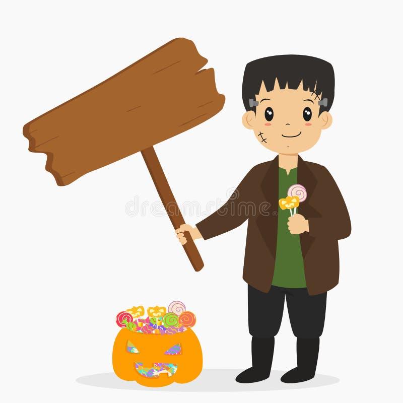 Frankenstein tenant un signe en bois et des lucettes, vecteur de bande dessinée de Halloween illustration libre de droits