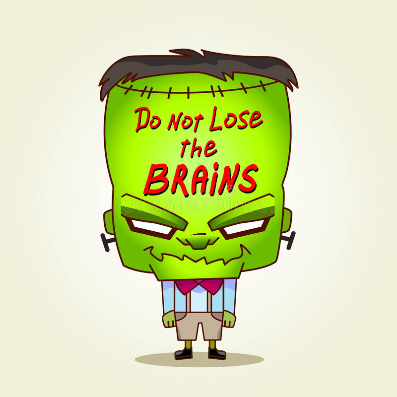 Frankenstein. Verlies niet de hersenen. stock illustratie