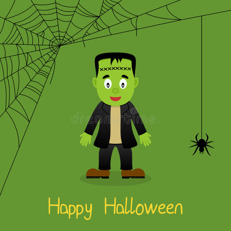 Frankenstein y tarjeta de Halloween del web de araña stock de ilustración