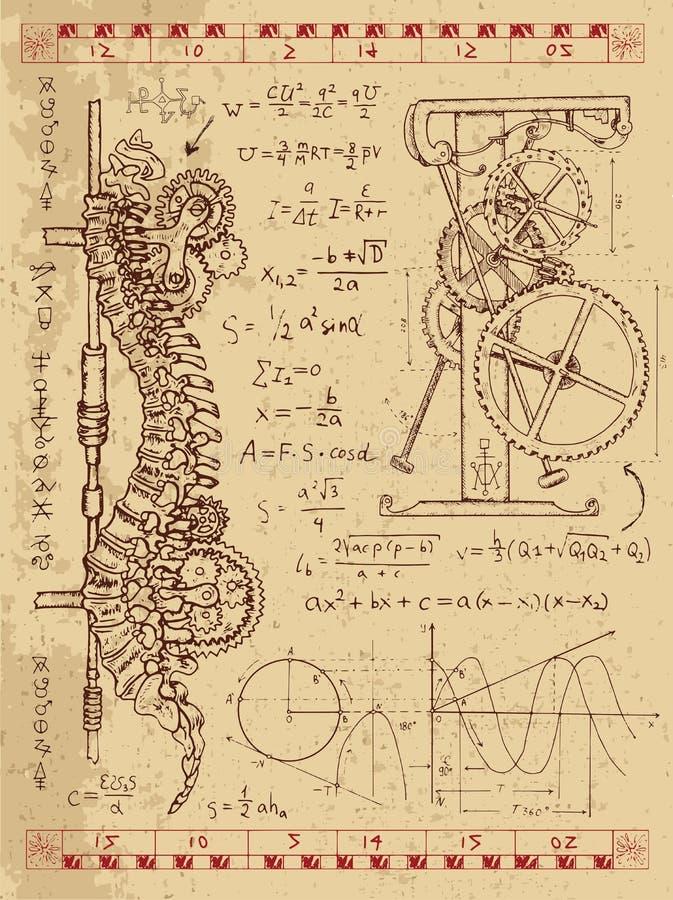 Frankentsein Diary with steampunk mechanism in human anatomy backbone. Graphic set with steam punk mechanism in human backbone, math formulas and retro machine stock illustration
