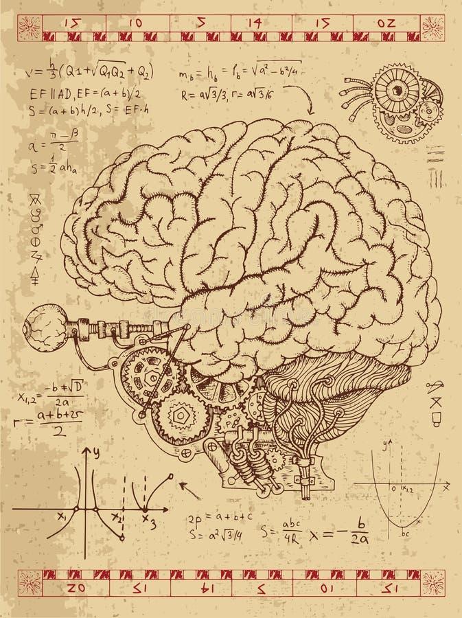 Frankentsein dzienniczek z machinalnymi ludzkiego mózg, oka i matematyki formułami, ilustracja wektor