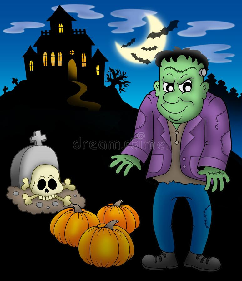 Frankestein with haunted mansion vector illustration