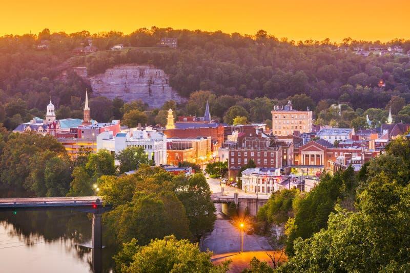 Frankfort, Kentucky, usa miasteczka linia horyzontu zdjęcia royalty free
