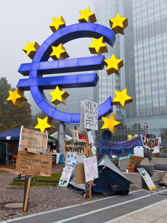 frankfurt занимает протесты стоковое фото