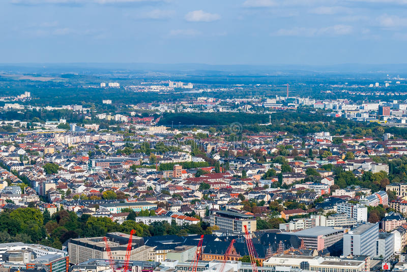 Frankfurt from above, Germany stock images