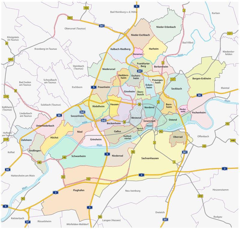 Frankfurt Administrative Map Stock Illustration Illustration of