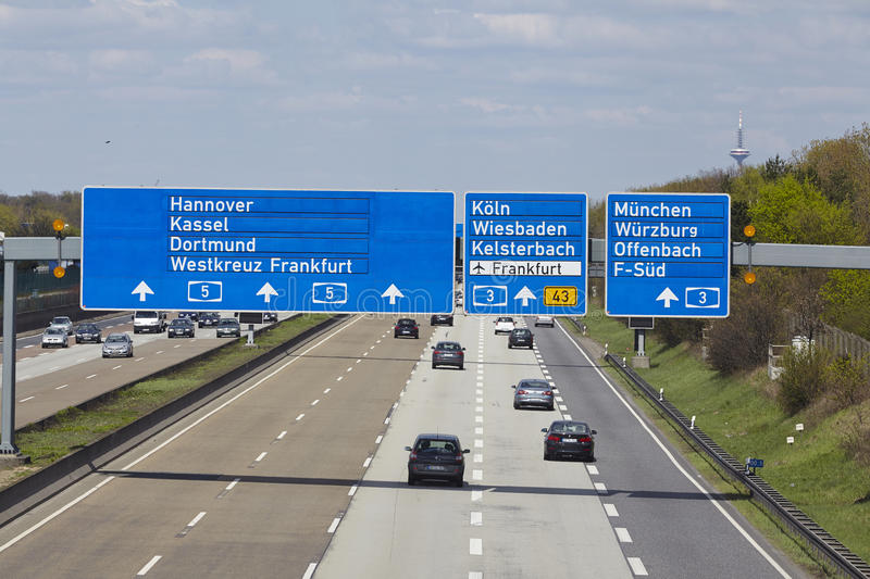 frankfurt airport autobahn a5 with roadsign to the airport editorial photo image of lanes. Black Bedroom Furniture Sets. Home Design Ideas