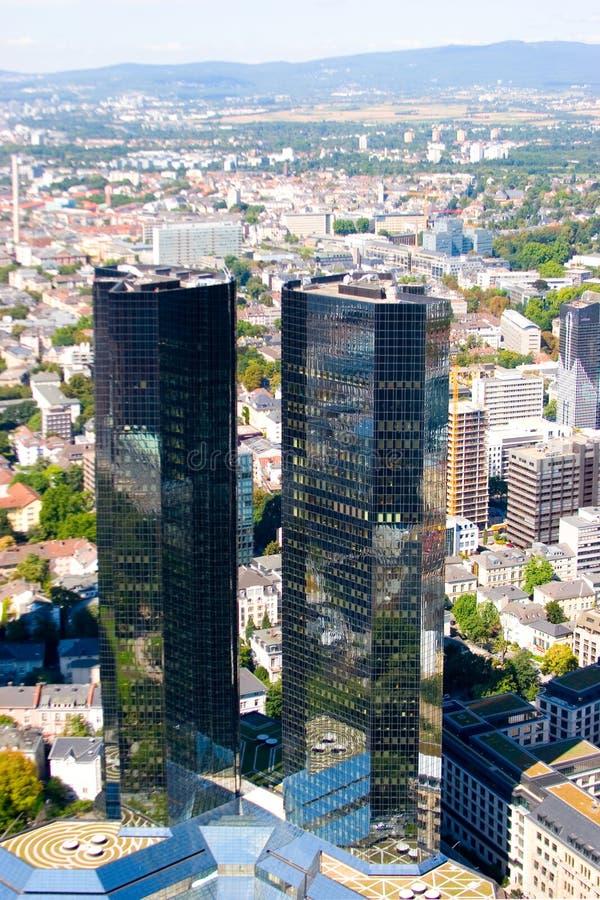 Frankfurt-auf-Hauptansicht vom Wolkenkratzer stockfoto