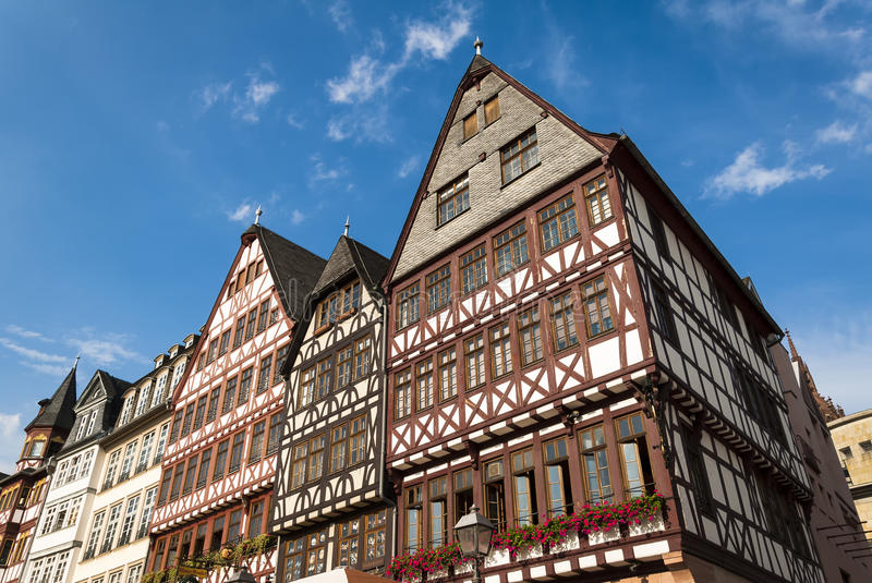 Frankfurt central square. View of Frankfurt historical central square palaces in sunny day stock images